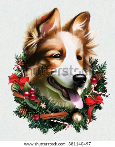 Portrait of a Christmas dog with wreath of sweets and toys, happy dog - stock photo