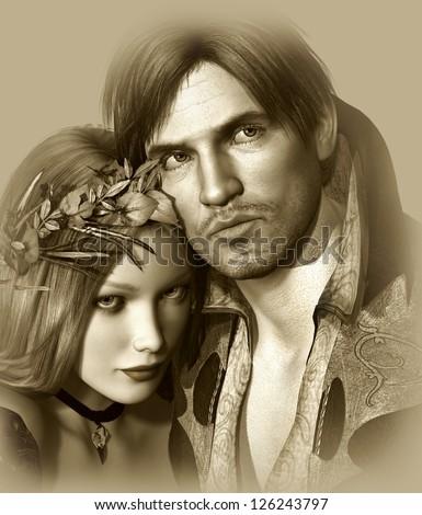 portrait of a classic love pair in monochrome version - stock photo