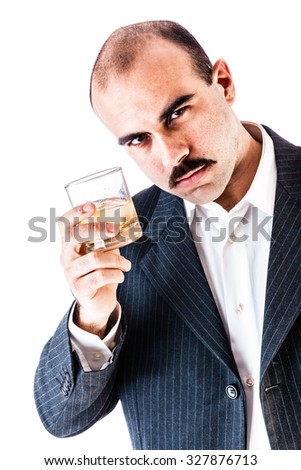portrait of a classy businessman toasting with a glass of whiskey isolated over a white background - stock photo