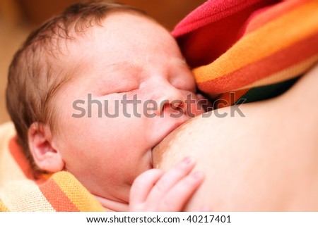 portrait of a close-up, infant - stock photo