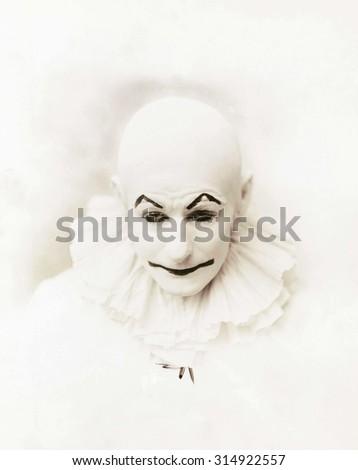 Portrait of a clown - stock photo