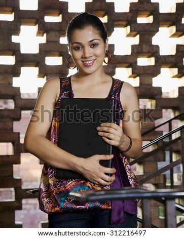 Portrait of a college student - stock photo