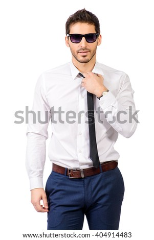 Portrait of a confident businessman in white shirt and sunglasses. Men's beauty, fashion. Isolated over white. - stock photo