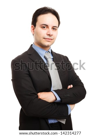 Portrait of a confident businessman. Isolated on white - stock photo