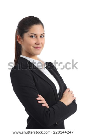 Portrait of a confident businesswoman isolated on a white background - stock photo