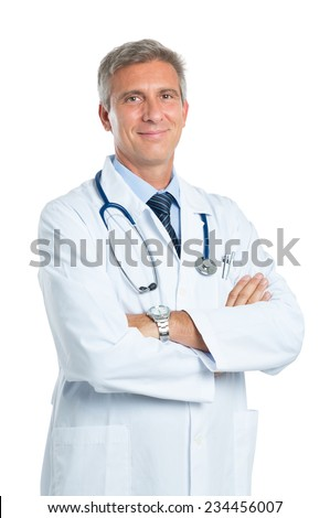Portrait Of A Confident Mature Doctor Looking At Camera Isolated On White Background - stock photo