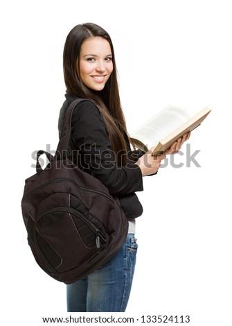 Portrait of a confident young brunette student. - stock photo