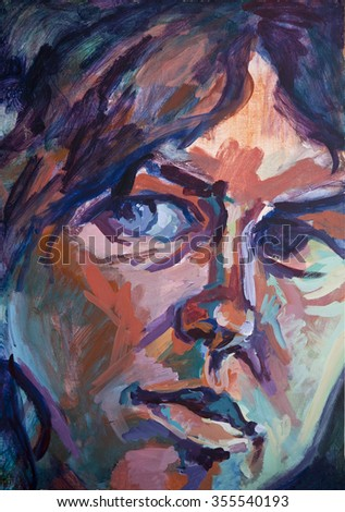 Portrait of a 'Conflicted Woman', acrylic painting. - stock photo