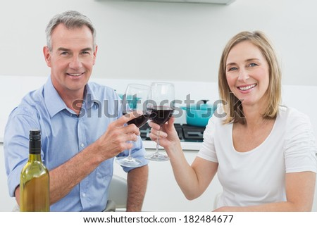 Portrait of a couple toasting wine glasses in the kitchen at home - stock photo
