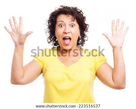 portrait of a crazy mature woman screaming - stock photo