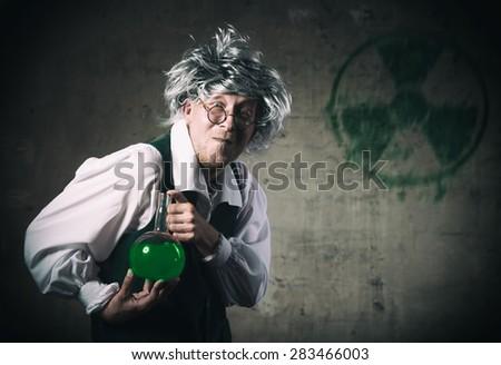 Portrait of a crazy scientist  - stock photo