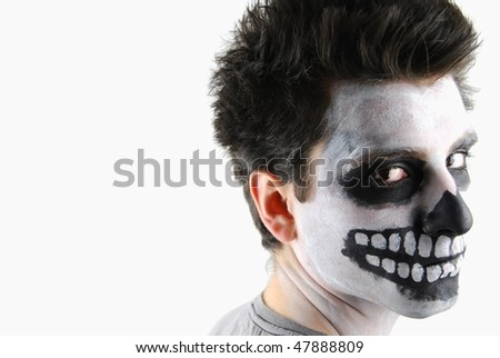 portrait of a creepy skeleton guy perfect for Carnival - stock photo