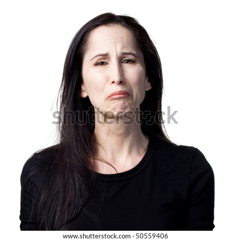 Portrait of a crying woman, isolated image - stock photo