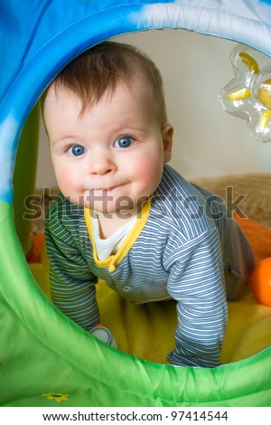 Portrait of a cute baby boy - stock photo