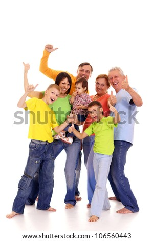 portrait of a cute big family on white - stock photo