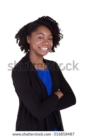 Portrait of a cute black teenager smiling and standing with confidence. Isolated on white - stock photo