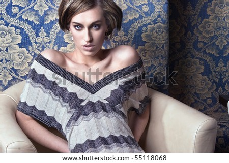Portrait of a cute blonde beauty - stock photo