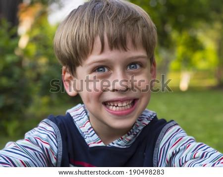 portrait of a cute boy - stock photo