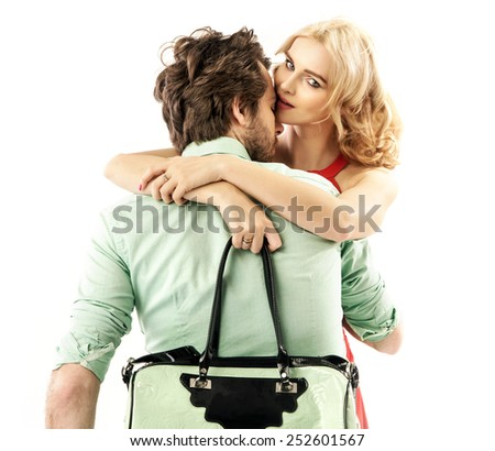 Portrait of a cute couple - stock photo