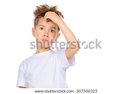 Portrait of a cute curious boy looking at camera. Isolated over white background. - stock photo