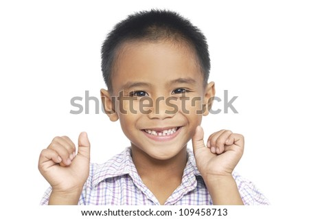 Portrait of a cute little boy isolated - stock photo