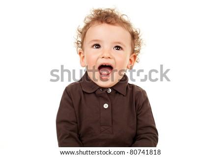 portrait of a cute little boy talking over white - stock photo