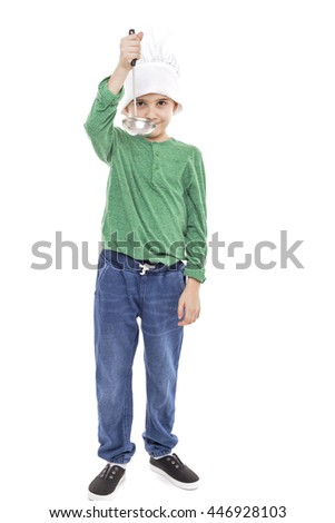 Portrait of a cute little boy with cook hat holding a ladle over white background - stock photo