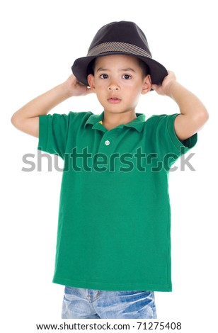 portrait of a cute little boy with hat, isolated on white background - stock photo