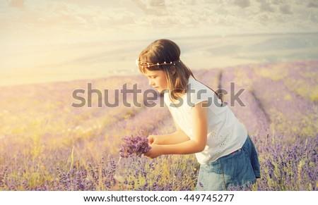 Portrait of a cute little girl in a lavender field - stock photo