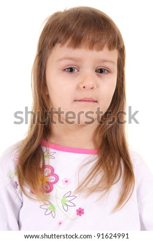 portrait of a cute little girl on white - stock photo