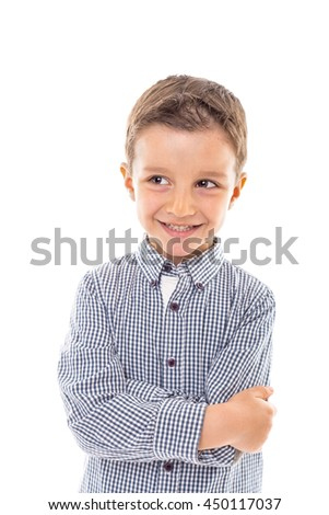 Portrait of a cute modern boy with arms folded over white background - stock photo