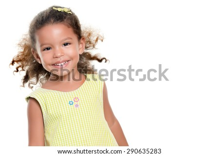 Portrait of a cute small hispanic girl isolated on white - stock photo