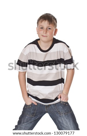 portrait of a cute teenage boy on white background - stock photo