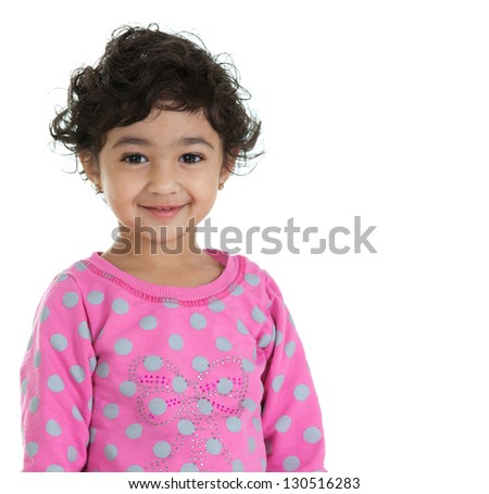 Portrait of a Cute Toddler Girl, Isolated, White - stock photo