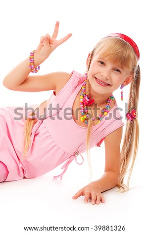 Portrait of a cute 6 years old girl. - stock photo