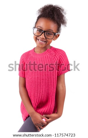 Portrait of a cute young African American girl,isolated on white background - stock photo