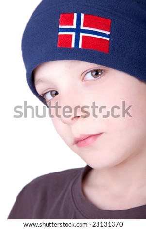 Portrait of a cute young boy isolated on white background. Studio shot. - stock photo