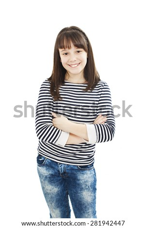 Portrait of a cute young girl standing with folded hands. Isolated on white background  - stock photo