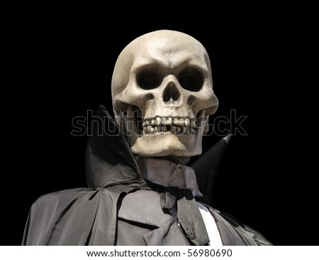 portrait of a death skeleton, grim reaper isolated on black with clipping path - stock photo