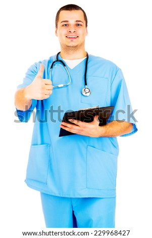Portrait of a doctor gesturing ok sign on white background - stock photo