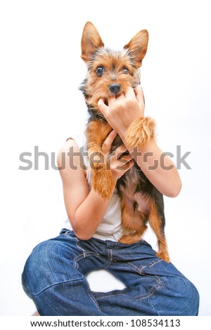 portrait of a dog with little boy - stock photo