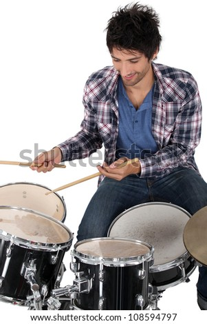 Portrait of a drummer - stock photo