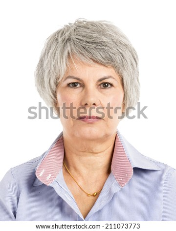 Portrait of a elderly woman with a Serious Expression - stock photo