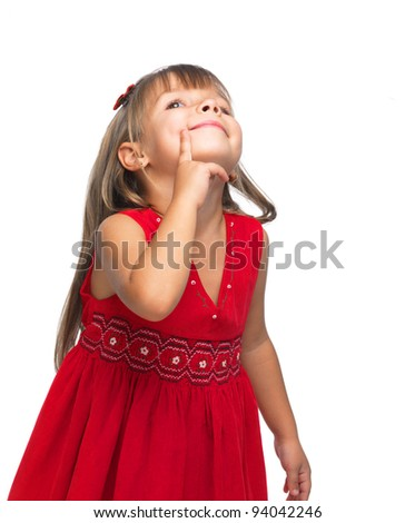 Portrait of a emotional beautiful little girl looking up on white background. - stock photo