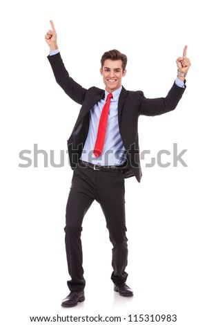 Portrait of a energetic young business man enjoying success, screaming against white - Isolated - stock photo