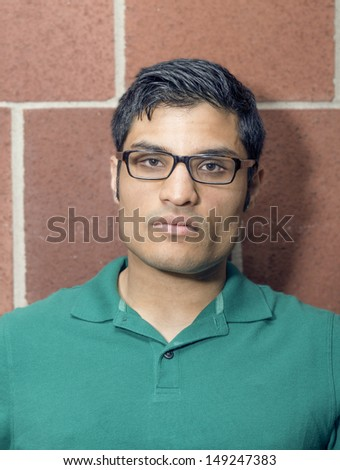 Portrait of a expressionless man - stock photo