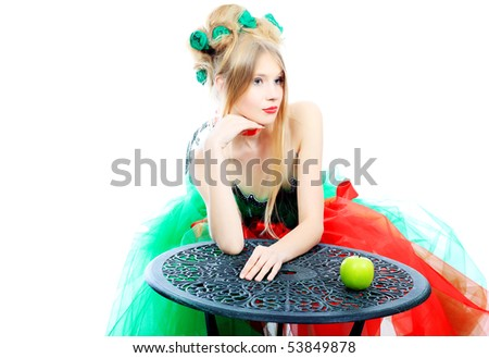 Portrait of a fashionable spring woman. Body painting project. - stock photo
