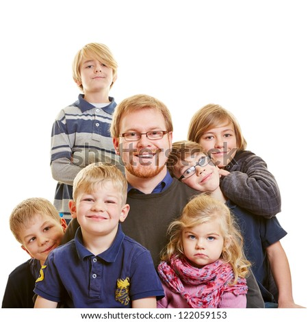 Portrait of a father with his six children - stock photo