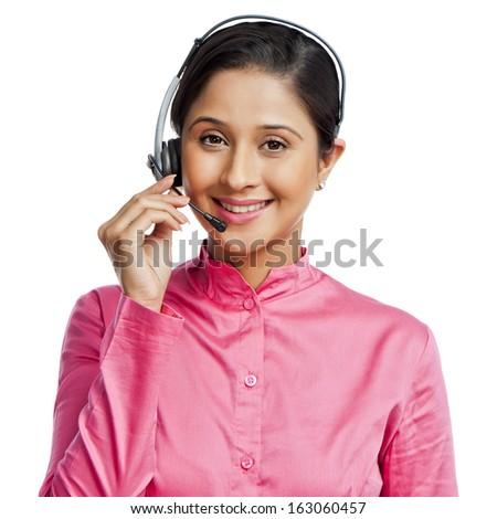 Portrait of a female customer service representative - stock photo