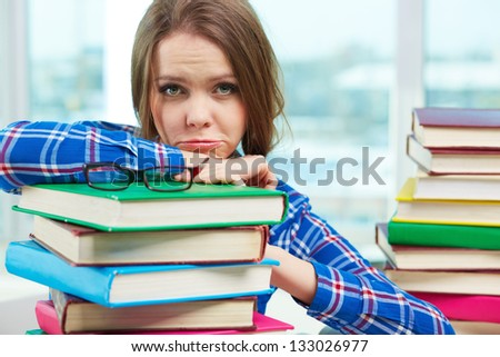 Portrait of a female learner having trouble studying - stock photo
